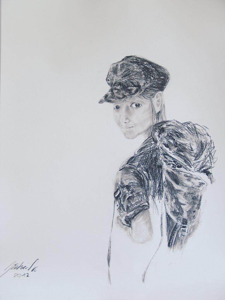 3. Preis: Jiahai Ni | Sie gehen | Kohlezeichnung. 40 x 63 cm