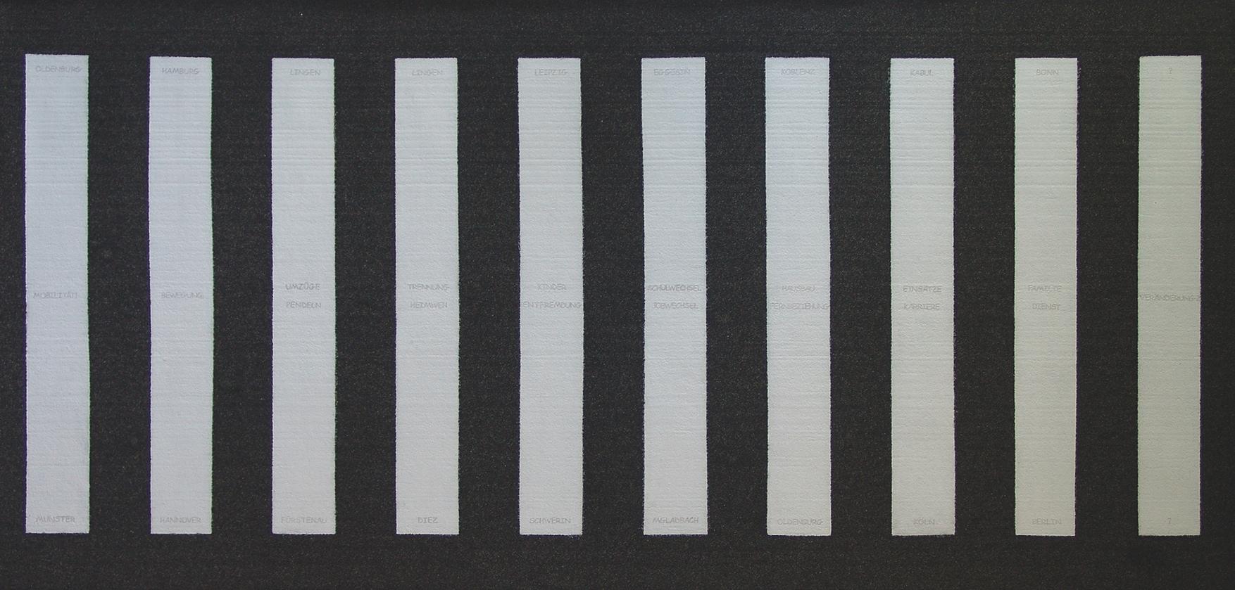 4. Preis: Ralf Illauer | Der Zebrastreifen | Teerpappe auf Holz. 200 x 100 cm