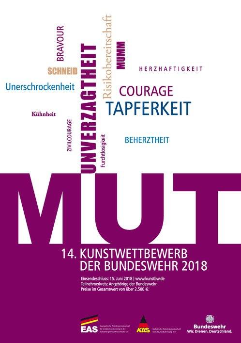 Plakat des 14. Kunstwettbewerbs der Bundeswehr. Thema Mut
