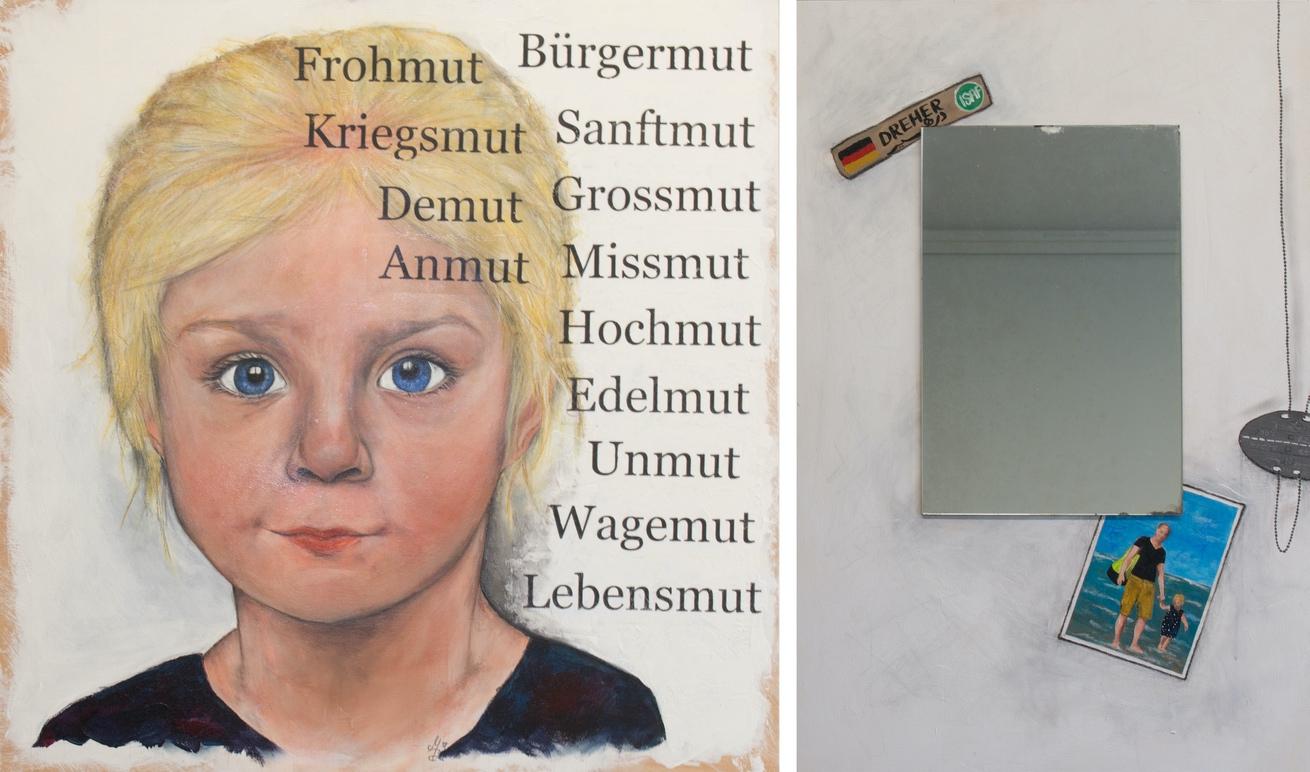 1. Preis. Manuela Dreher. Was der Mensch sät… Malerei auf Holz. 60 x 60 cm + 40 x 60 cm. Zweiteilig