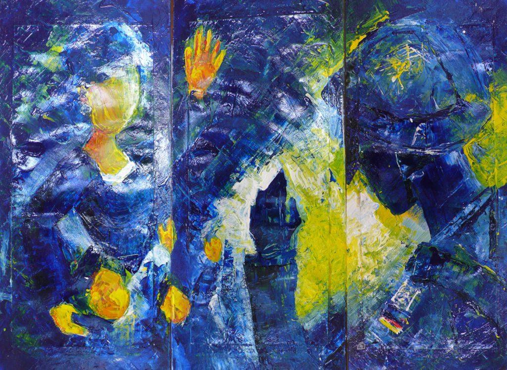 1. Preis: Ingrid Sanders | Abschied | Malerei. 63 x 39 cm