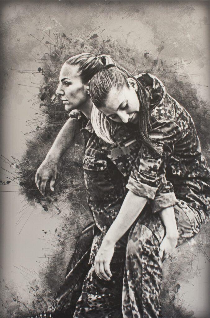 2. Preis. Sandra Marchewka. Am Anfang ist es Mut, dann eine Einstellung. Fotografie auf Leinwand. Digitale Bearbeitung. 60 x 90 cm