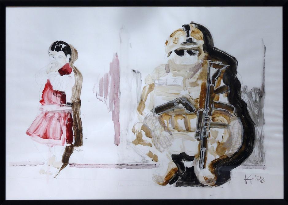 2. Preis: Dietrich Achim Kluge | Am Anfang war das Wort | Malerei, Acryl und Zeichnung auf Bristolkarton. 100 x 70 cm