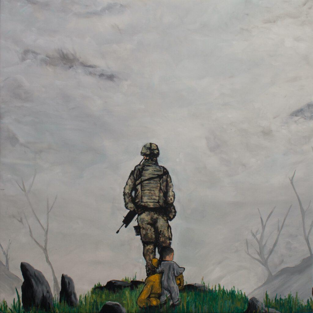 5. Preis. Ann Kocakaya. Was der Morgen bringt. Malerei. 90 x 90 cm