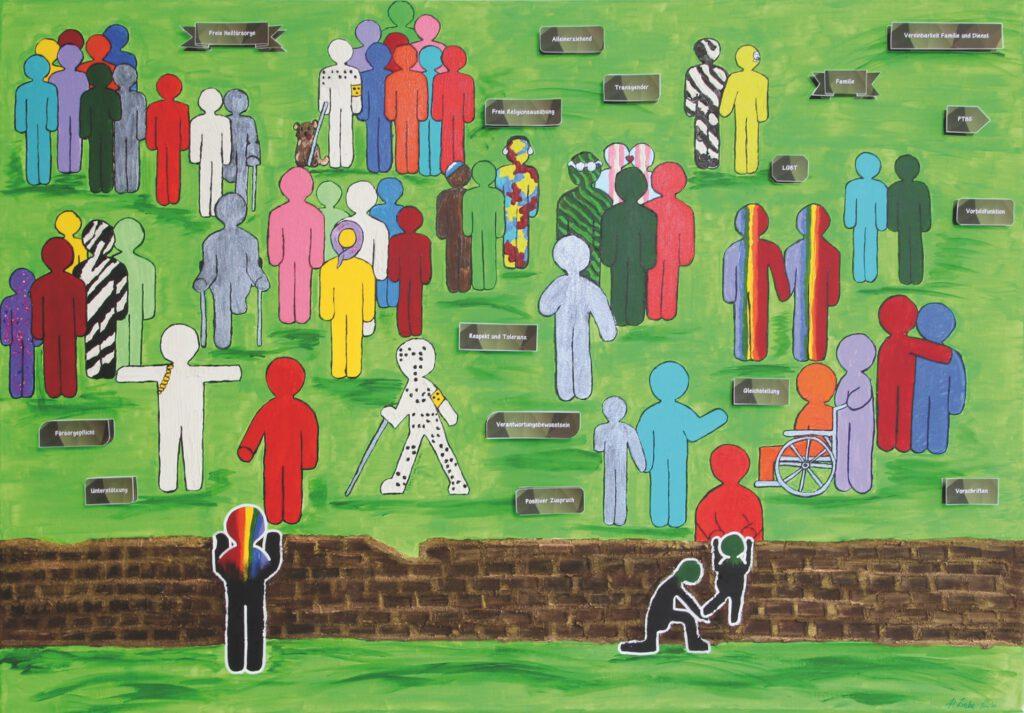 5. Preis. Pamela Liebe. Respekt und Toleranz. Malerei und Collage. Zweiteilig je 90 x 70 cm. Linkes Bild