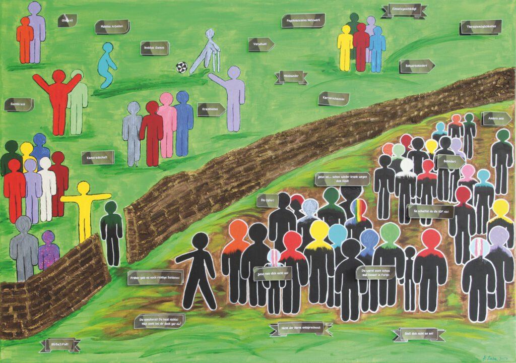 5. Preis. Pamela Liebe. Respekt und Toleranz. Malerei und Collage. Zweiteilig je 90 x 70 cm. Rechtes Bild