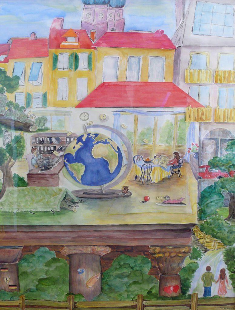 5. Preis: Andreas und Helga Wäß | Eine neue Nachricht | Malerei und Collage. 73 x 103 x 4 cm