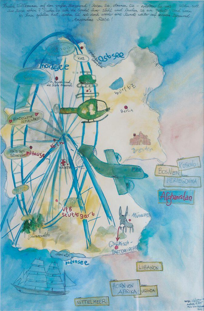 Familie Mocha | Riesenrad | Tuschezeichnung. 60 x 80 cm